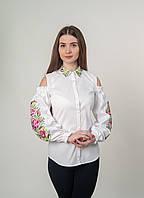 """Белая рубашка с вырезами на плечах и вышивкой """"розы"""", арт. 4509"""