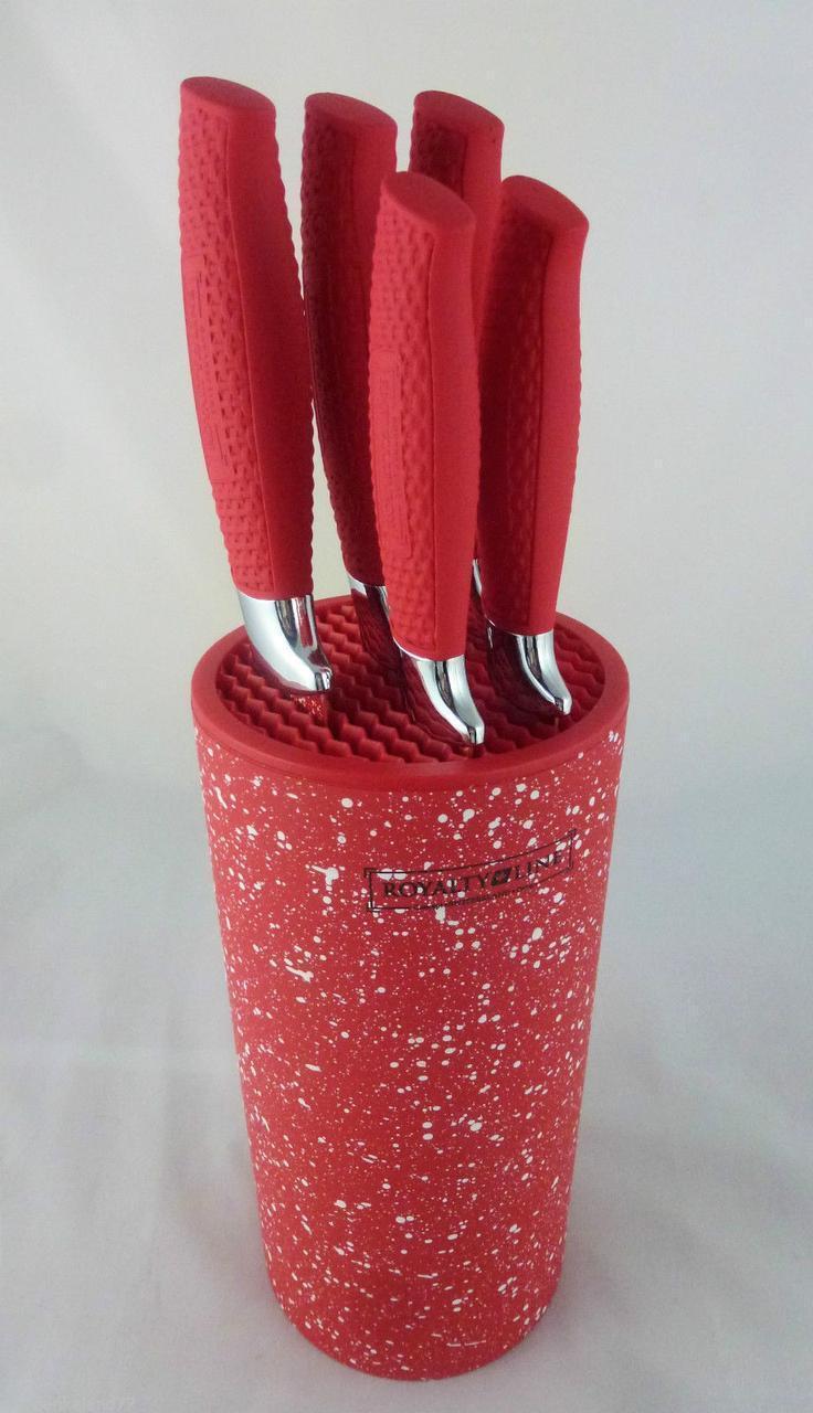 Красный набор ножей на подставке Royalty Line KH5MStr стильный набор 6 предметов кухонные ножи