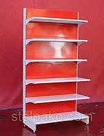 Пристенный (односторонний) стеллаж «Колумб» 200х100 см., Белый + красный, Б/у, фото 1