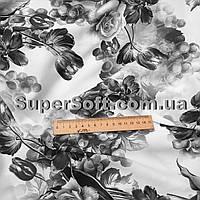 Ткань супер софт принт серые цветы на белом