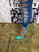 Женские туфли-лодочки бирюза лак