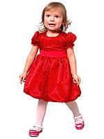 Платье нарядное детское из атласа с поясом М -1030  рост 80, фото 1