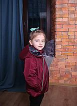 Осенняя, демисезонная, весна-осень детская куртка с капюшоном бордовая Новинка Топ продаж 2019-2020, фото 3