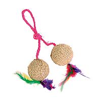 Игрушка для кошек Trixie Мячи на верёвке d=4,5 см (джут)