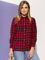7d4bfa91de9 Женская рубашка в клетку красного цвета. Модель 20979. Размеры 42-54