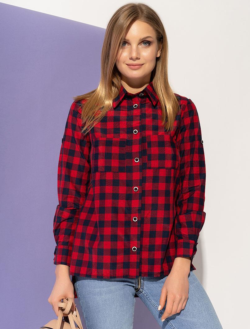 9dc4cd6e828 Женская рубашка в клетку красного цвета. Модель 20979. Размеры 42-54 - Irse