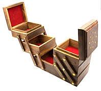 "Шкатулка раздвижная ""5 отделений"" розовое дерево (23х16,5х13 см)(wooden box td bigger)"