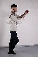 Заготівля чоловічої сорочки для вишивки нитками/бісером БС-66ч білий, домоткане полотно