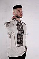 Заготовка чоловічої сорочки для вишивки нитками/бісером БС-66ч білий, атлас