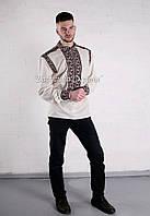 Заготовка чоловічої сорочки для вишивки нитками/бісером БС-66ч білий, габардин