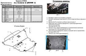Защита двигателя и кпп  радиатора Kia Carens I  2000-2002