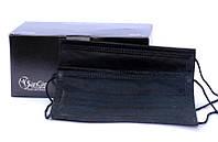 Черные маски Sangig, 50 шт (медицинские одноразовые)