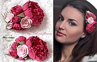 """""""Розовые пионы"""" гребень для волос с цветами из полимерной глины."""