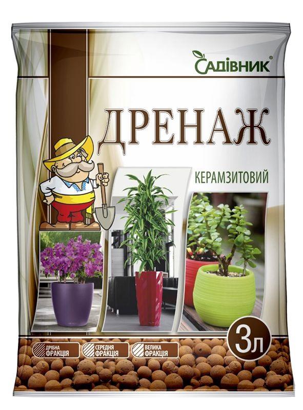 Дренаж керамзитовый - добавка к цветочным грунтам Садовник, 3 л