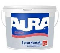 Aura Beton Kontakt, 4кг Адгезионная грунтовка с кварцевым песком для невпитывающих поверхностей
