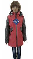 Модная демисезонная куртка для девочки 6-10 лет бордо+серый