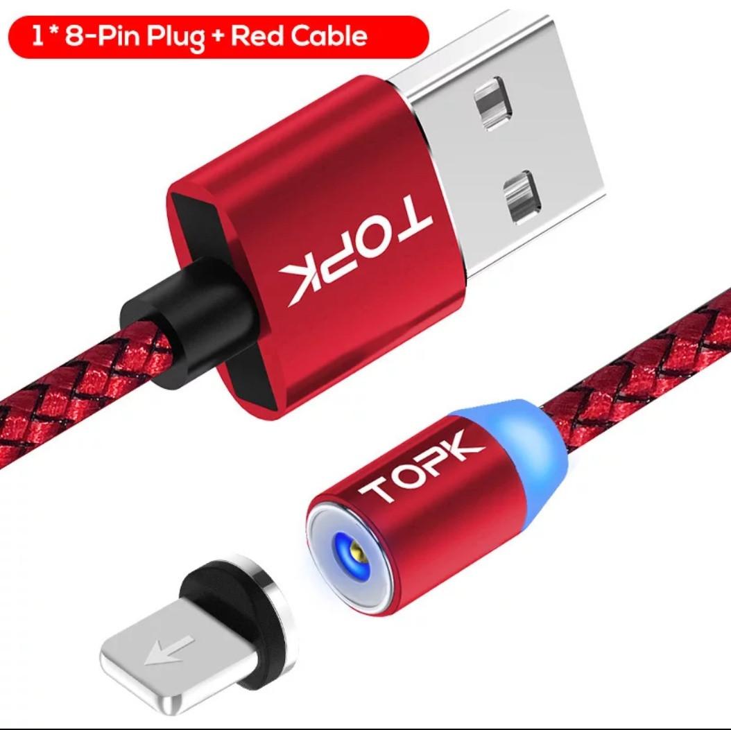 Червоний Магнітний Lightning  USB кабель TOPK з підсвіткою для iphone