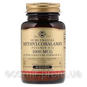 Витамин B12 сублингвальный, Solgar (1000 мкг/ 60 табл)