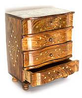 Шкатулка розовое дерево (4 отделения)(28х23х14,5 см)(wooden almirah 4 drawers jali)