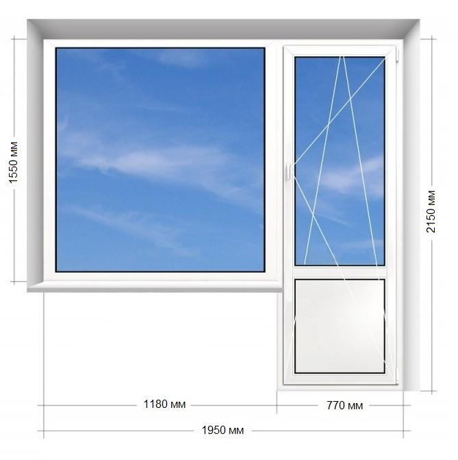 "Балконный блок (ПВХ), 9-ти, 12-ти этажка ""Чешка"". 1950х2150 Rehau Euro-60"