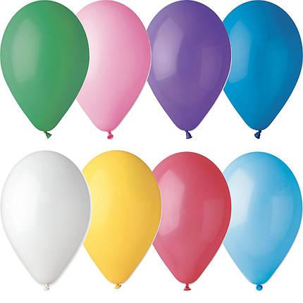 """Латексные шары круглые без рисунка 10"""" 25см Пастель ассорти """"GEMAR"""" Италия, фото 2"""