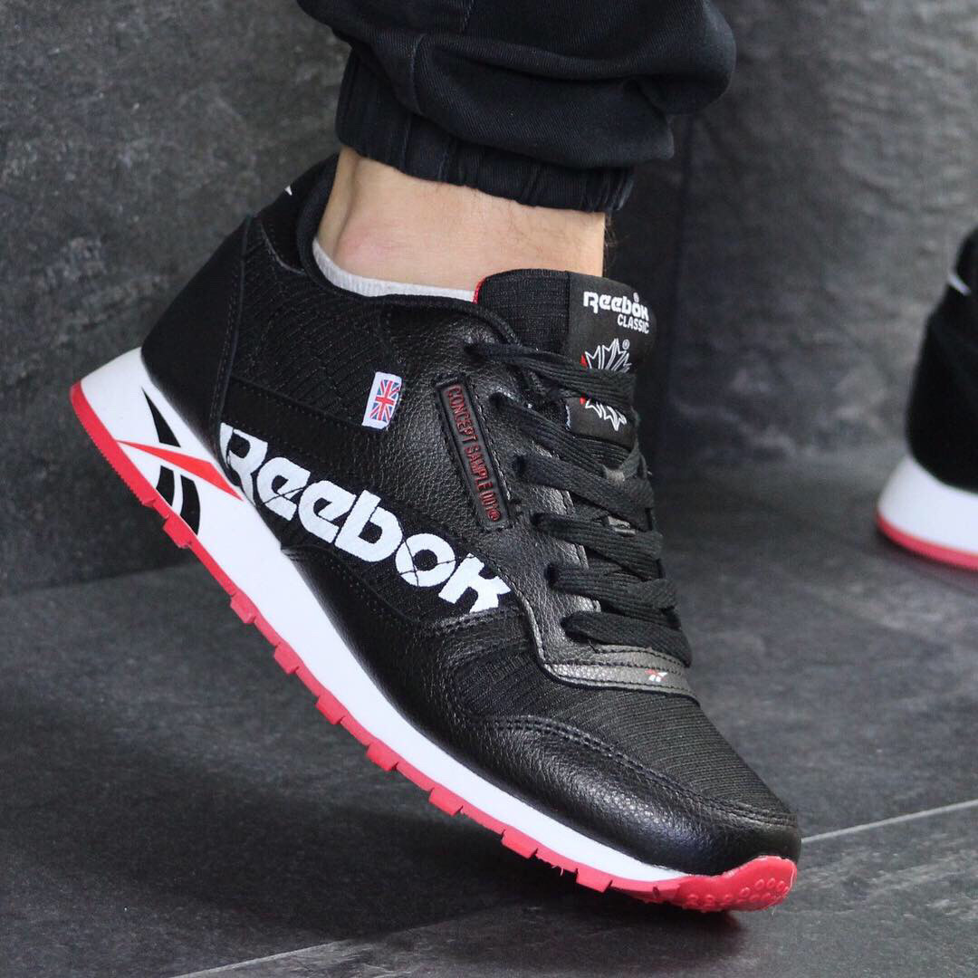 6a6a5346 Мужские кроссовки демисезонные Reebok 7553 черно белые с красным заказать дёшево  интернет магазин - Интернет-