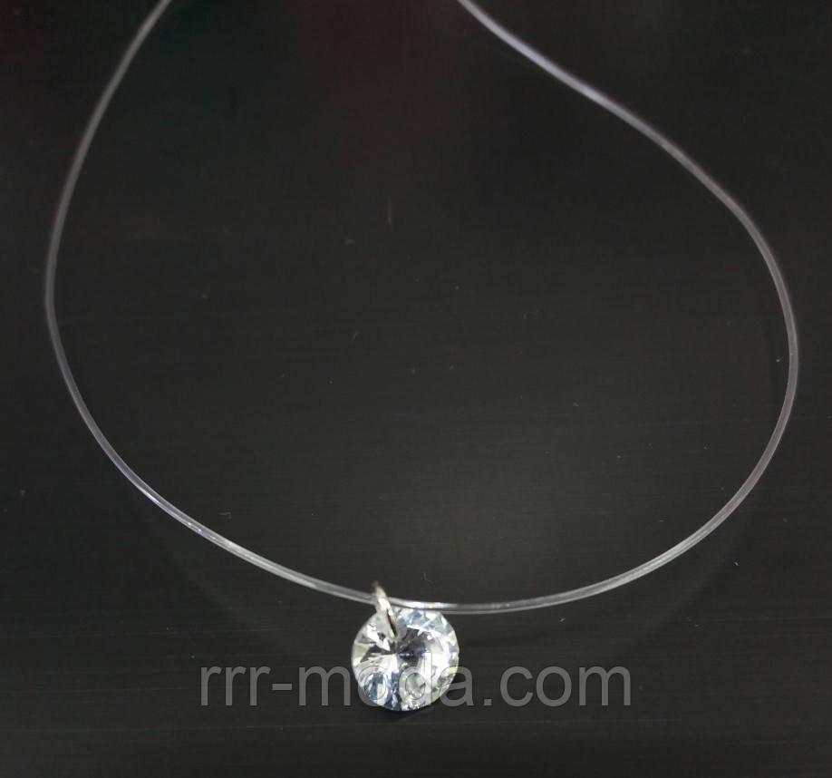 Круглі підвіски кристали з цирконієм на силіконовій нитки. 350
