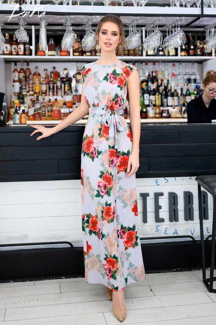 Женский сарафан в пол длинное платье супер софт+принт цветы размер:42-44,46-48,50-52,54-56