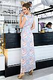 Женский сарафан в пол длинное платье супер софт+принт цветы размер:42-44,46-48,50-52,54-56, фото 7