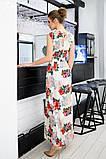 Женский сарафан в пол длинное платье супер софт+принт цветы размер:42-44,46-48,50-52,54-56, фото 6