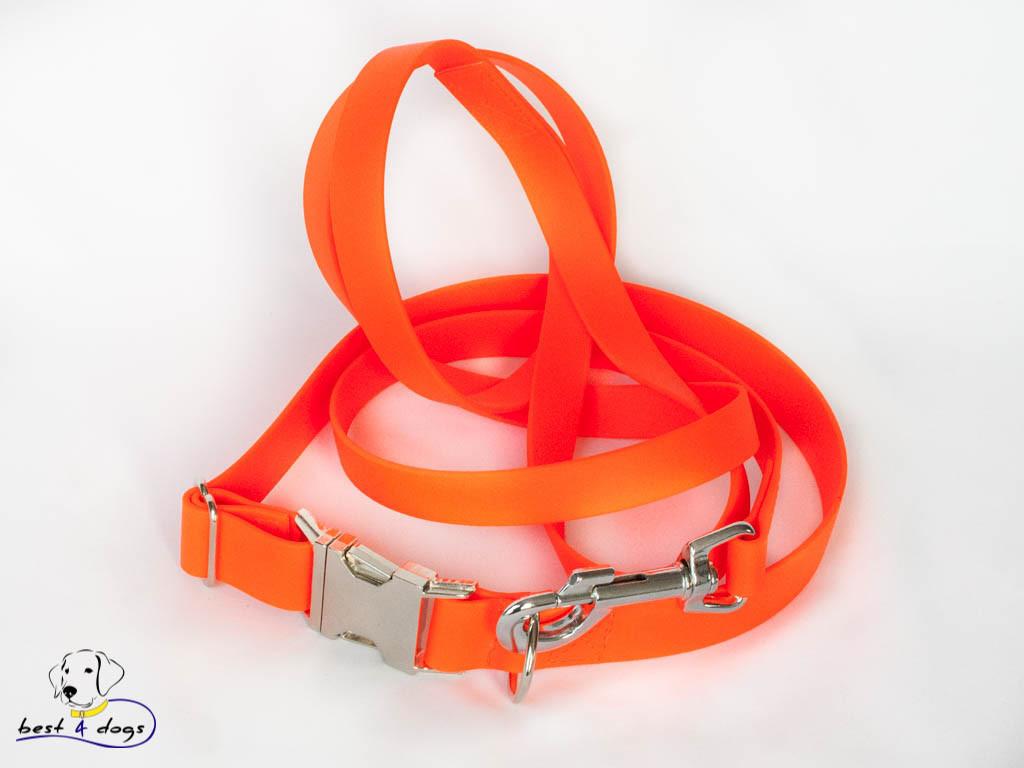 Ошейник из биотана, Оранжевый Неон, 19мм(с черным фастексом)