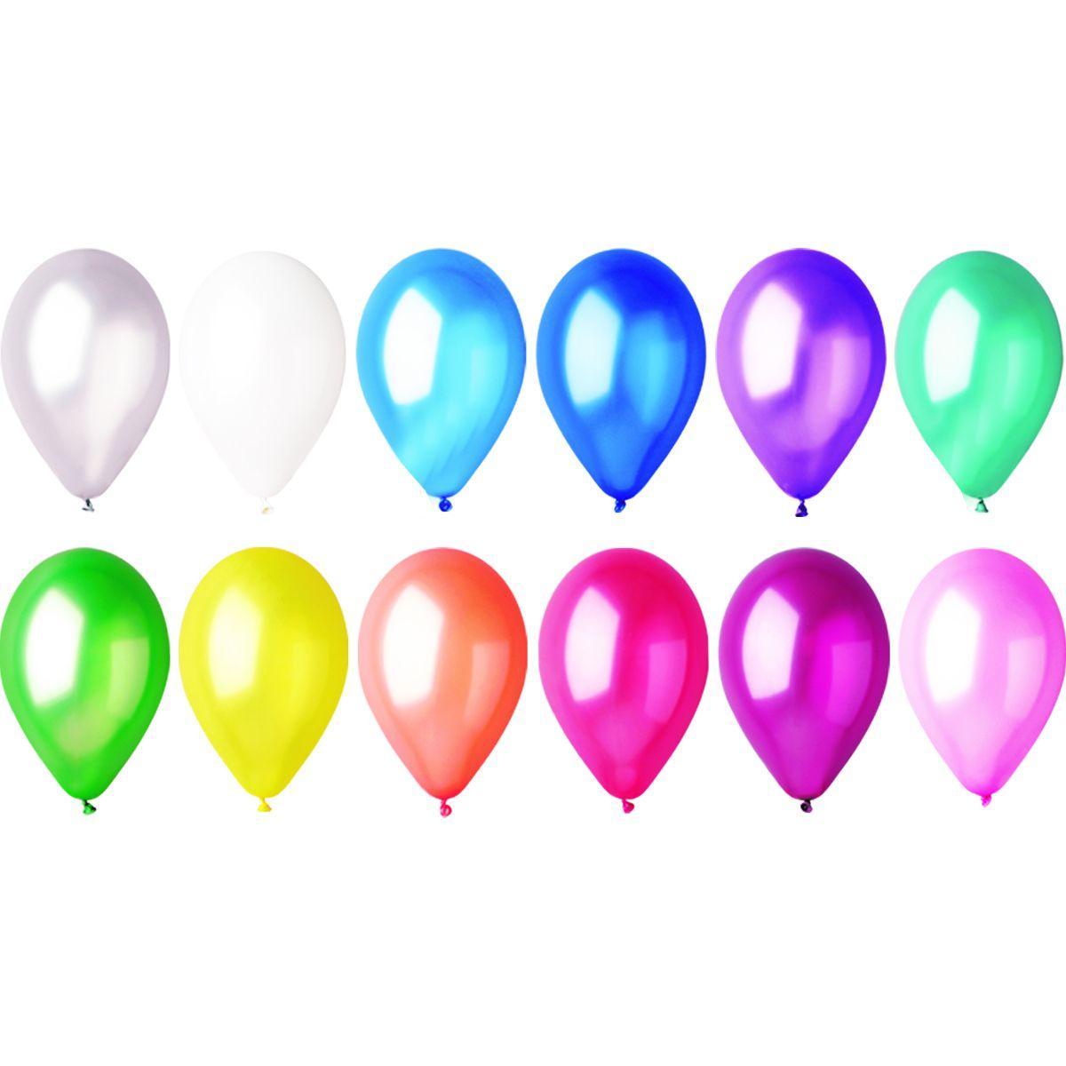 """Латексные шары круглые без рисунка 5"""" 13см металлик ассорти """"GEMAR"""" Италия"""