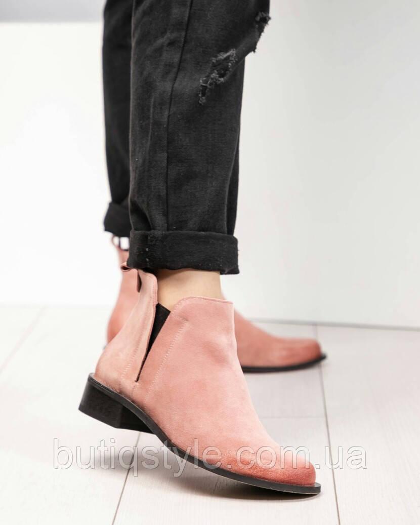 Весенние ботинки женские Vivendi светло-розовые натуральная замша, 2019