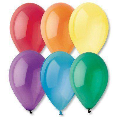 """Латексные шары круглые без рисунка 10"""" 25см кристалл ассорти """"GEMAR"""" Италия"""