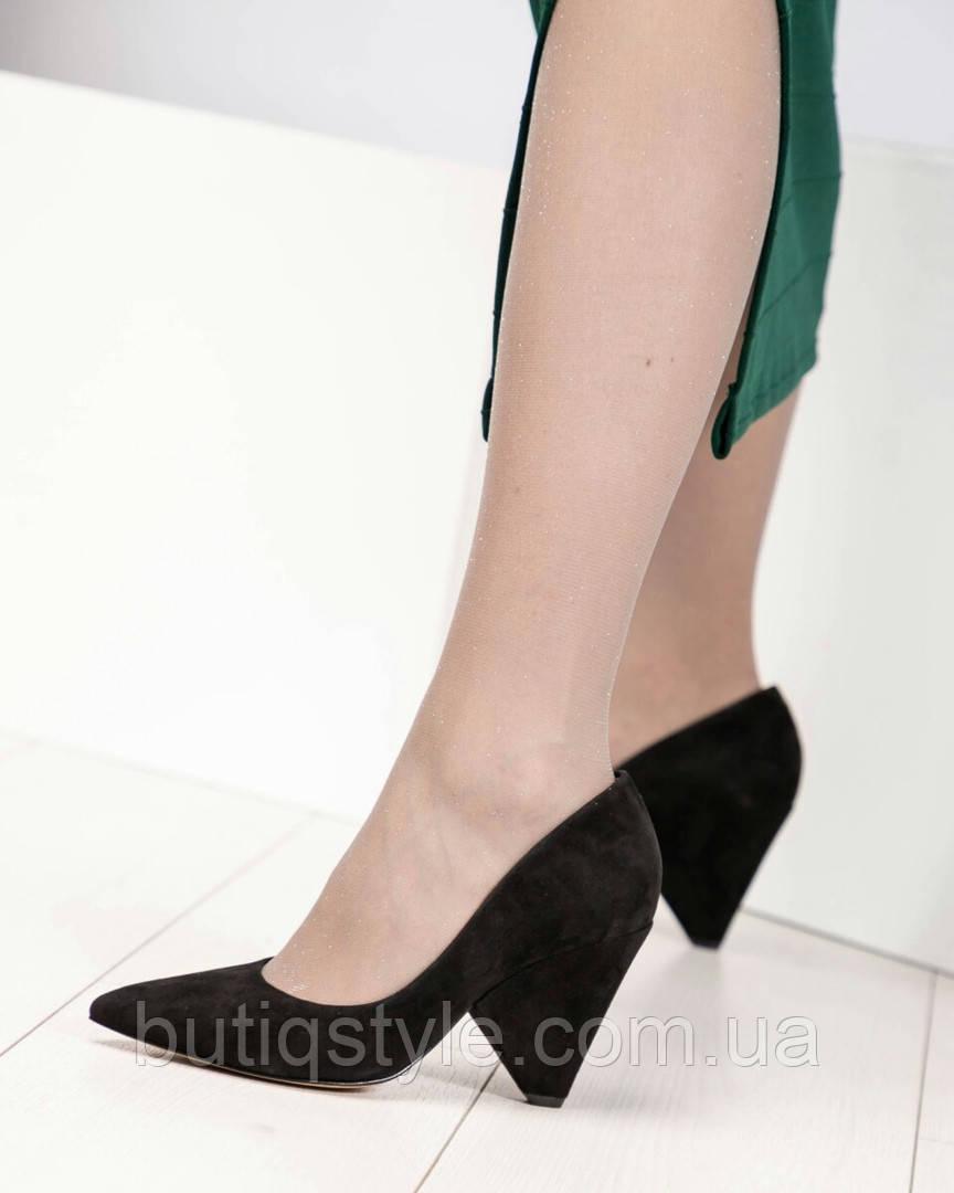37,38 размер Женские черные туфли на оригинальном каблуке натуральный велюр