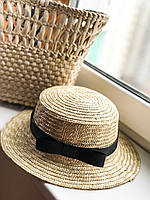 Соломенная шляпа женская  канотье с черной лентой