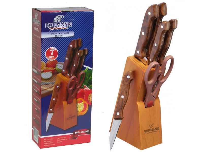 Коричневый кухонный набор ножей Bohmann BH-5102MR 7 предметов деревянная подставка