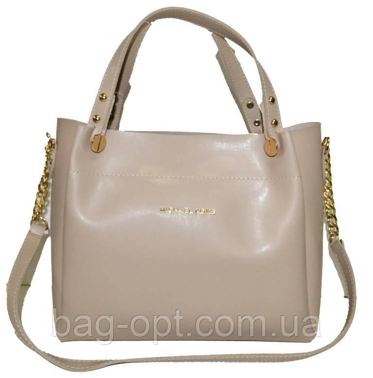 Женская бежевая сумка Michael Kors (28*32*13)