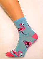 Цветные хлопковые носки с яркими фламинго