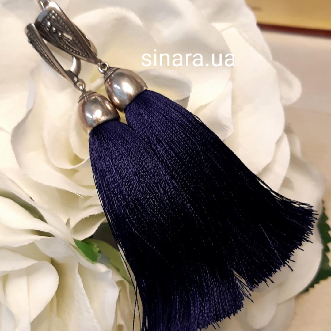 Серебряные серьги кисти синие - Серьги кисти синие серебро длинна 9.5 см