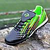 Футзалки, бампы, сороконожки кроссовки для футбола мужские подростковые черные зеленые (код 7754)