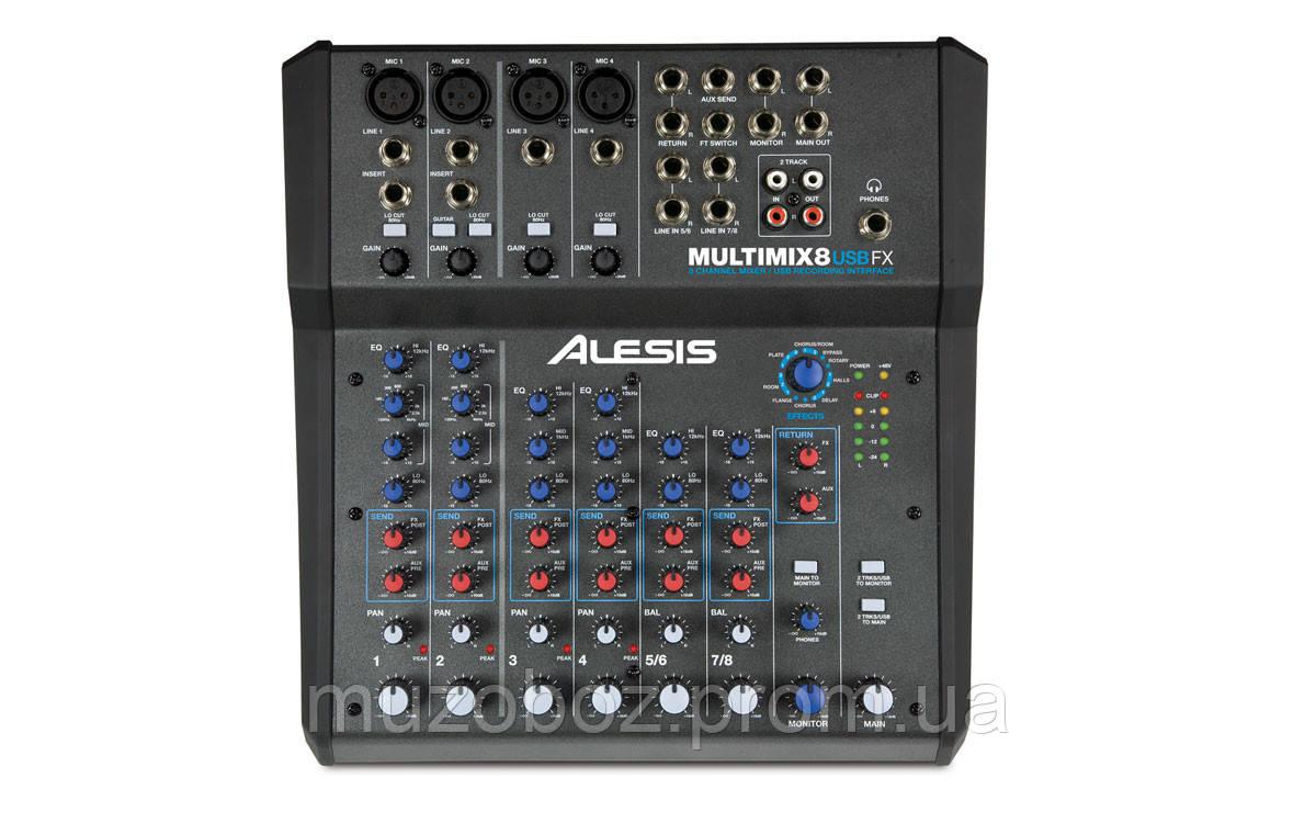 Alesis Multi Mix 8 USB FX микшерный пульт, 4 моно + 2 стерео канала