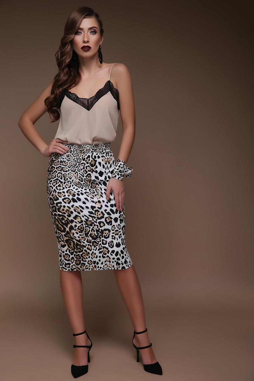 Леопардовая юбка до колен