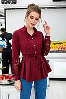 85c82276251cc Женская блузка блуза длинный рукав белая бордо софт отделка гипюр  размер:42,44,