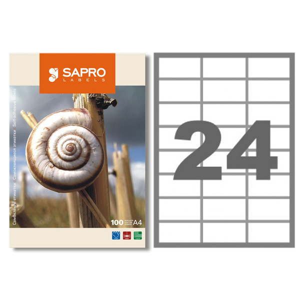 Самоклеющаяся бумага Sapro S2002 ( формат А4, 24 делений) 100листов