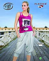 Распродажа, женский летний трикотажный костюм футболка и брюки галифе PLAYNEW, размер S, L