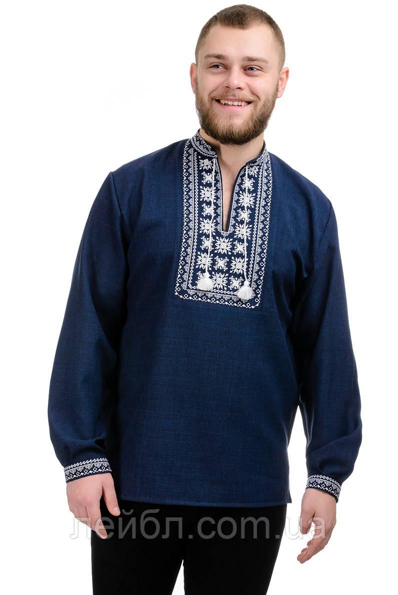 Мужская сорочка-вышиванка Орнамент - темно-синяя