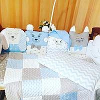 Простынка+ подушка+плед+ бортики в кроватку, фото 1