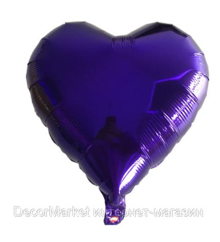 Шар сердце фольгированное, ФИОЛЕТОВОЕ - 25 см (10 дюймов), фото 2