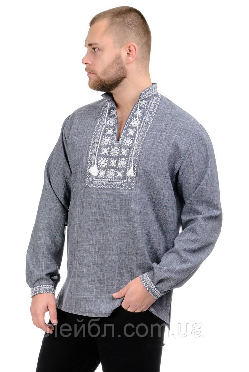 Мужская сорочка-вышиванка Орнамент - серая